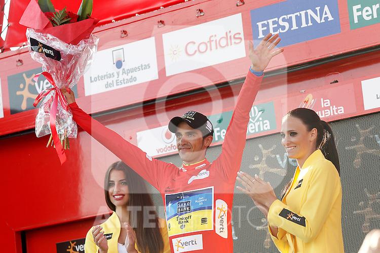 Alberto Contador with the red jersey of leader celebrates his virtual victory in La Vuelta 2012 after the stage beetwen La Faisanera Golf (Segovia)-La Bola del Mundo.September 8,2012. (ALTERPHOTOS/Acero)