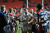 Nathan Catt leads the Bath Rugby team off the field. European Rugby Challenge Cup match, between Bristol Rugby and Bath Rugby on January 13, 2017 at Ashton Gate Stadium in Bristol, England. Photo by: Patrick Khachfe / Onside Images