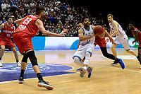 GRONINGEN - Basketbal, Donar - Spirou, Martiniplaza, Europe Cup, seizoen 2019-2020, 27-11-2019,  Donar speler Carrington Love met Spirou speler Yoeri Schoepen