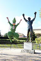 PHILADELPHIA, PA - NOVEMBER 8: Cirque du Soleil's  Varekai acrobat, Alexey Maksimov pictured with the Rocky statue at the Art Museum in Philadelphia, Pa on November 8, 2017  Credit: Star Shooter/MediaPunch