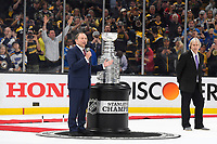 June 12, 2019: National Hockey League Commissioner Gary Bettman presents the Stanley Cup Trophy during game 7 of the NHL Stanley Cup Finals between the St Louis Blues and the Boston Bruins held at TD Garden, in Boston, Mass. The Saint Louis Blues defeat the Boston Bruins 4-1 in game 7 to win the 2019 Stanley Cup Championship.  Eric Canha/CSM