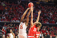 College Park, MD - March 23, 2019: Maryland Terrapins center Olivia Owens (35) is fouled by Radford Highlanders forward Lydia Rivers (20) during game between Radford and Maryland at  Xfinity Center in College Park, MD.  (Photo by Elliott Brown/Media Images International)