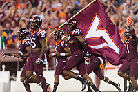 Landover, MD - SEPT 3, 2017:Virginia Tech Hokies linebacker Tremaine Edmunds (49) runs onto the field before the game between West Virginia and Virginia Tech at FedEx Field in Landover, MD. (Photo by Phil Peters/Media Images International)