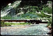 Southbound Silverton train crossing bridge over Mineral Creek.<br /> D&amp;RGW  Silverton, CO