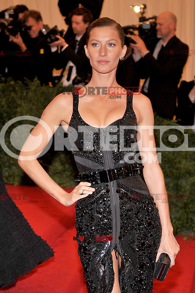 Gisele Bundchen at the 'Schiaparelli And Prada: Impossible Conversations' Costume Institute Gala at the Metropolitan Museum of Art on May 7, 2012 in New York City. © mpi03/MediaPunch Inc.