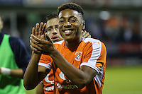 Akin Famewo of Luton Town after the Sky Bet League 2 match between Luton Town and Newport County at Kenilworth Road, Luton, England on 16 August 2016. Photo by David Horn.