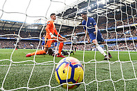 Alvaro Morata of Chelsea (right) celebrates after he scores his team's second goal of the game to make the score 2-1 during the Premier League match between Chelsea and Newcastle United at Stamford Bridge, London, England on 2 December 2017. Photo by David Horn.