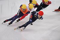 "SHORT TRACK: MOSCOW: Speed Skating Centre ""Krylatskoe"", 15-03-2015, ISU World Short Track Speed Skating Championships 2015, Superfinal 3000m, Sjinkie KNEGT (#148 | NED), Charles HAMELIN (#110 | CAN), Se Yeong PARK (#142 | KOR), ©photo Martin de Jong"