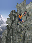 Man climbing mountain of arrow shaped rocks