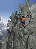 Man climbing mountain of arrow shaped rocks