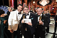 Oscars&reg; Host, Jimmy Kimmel and Oscar&reg; winners for Best Picture, Guillermo del Toro and J. Miles Dale at the 90th Oscars&reg; at the Dolby&reg; Theatre in Hollywood, CA on Sunday, March 4, 2018.<br /> *Editorial Use Only*<br /> CAP/PLF/AMPAS<br /> Supplied by Capital Pictures