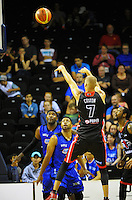 Kyle Coston shoots during the national basketball league match between Wellington Saints and Canterbury Rams at TSB Bank Arena, Wellington, New Zealand on Monday, 6 April 2015. Photo: Dave Lintott / lintottphoto.co.nz