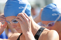 05 AUG 2007 - LONDON, UK - Michelle Dillon prepares for the start of the Elite Womens wave - London Triathlon. (PHOTO (C) NIGEL FARROW)