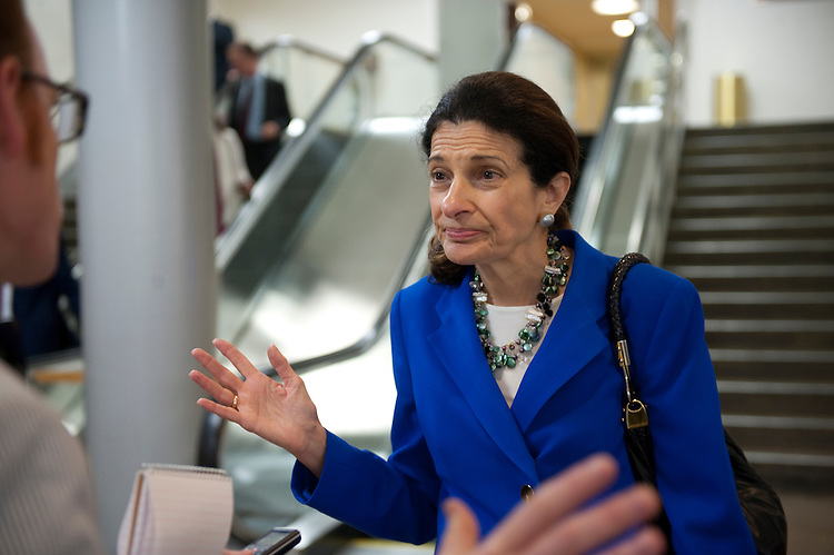 UNITED STATES - JULY 13: Olympia Snowe, R-ME., talks with reporters in the subway of the U.S. Capitol on July 13, 2011. (Photo By Douglas Graham/Roll Call)