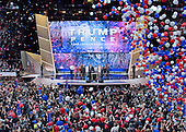 Trump and Pence families on the podium as the balloons drop following his acceptance speech as the GOP candidate for President of the United States at the 2016 Republican National Convention held at the Quicken Loans Arena in Cleveland, Ohio on Thursday, July 21, 2016.<br /> Credit: Ron Sachs / CNP<br /> (RESTRICTION: NO New York or New Jersey Newspapers or newspapers within a 75 mile radius of New York City)