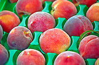 Farmers Market, Yellow Red Peaches