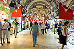Turkish flags flying inside the Covered Bazaar in Istanbul, Turkey