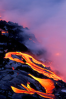 Lava flow from Kilauea volcano enters Pacific ocean at Hawaii Volcanoes National Park
