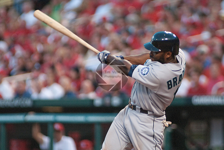June 15, 2010       Seattle Mariners left fielder Milton Bradley (15) homers to centerfield in the fourth inning.  The St. Louis Cardinals defeated the Seattle Mariners 4-2 in the second game of a three-game homestand at Busch Stadium in downtown St. Louis, MO on Tuesday June 15, 2010.