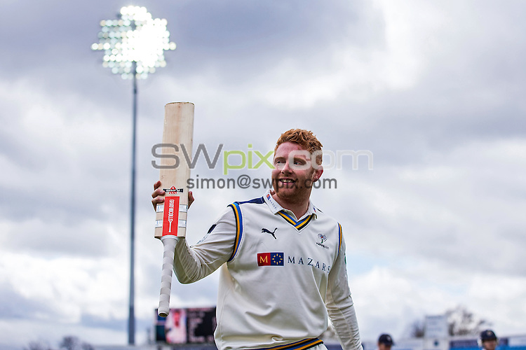 Picture by Alex Whitehead/SWpix.com - 18/04/2016 - Cricket - Specsavers County Championship Division One - Yorkshire CCC v Hampshire CCC, Day 2 - Headingley Cricket Ground, Leeds, England - Yorkshire's Jonny Bairstow celebrates his double century as he walks off for the lunch interval.