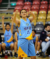 Sharne Pupuke-Robati gives the thumbs-up during the 2017 AA Girls' Secondary Schools Basketball Premiership National Championship match between Hastings Girls' High School (white) and Mt Albert Grammar School (sky blue) at the B&M Centre in Palmerston North, New Zealand on Wednesday, 4 October 2017. Photo: Dave Lintott / lintottphoto.co.nz