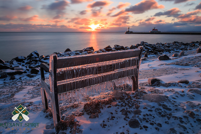 """""""Winter's Blush"""" ~ Lake Superior's waves and spray sculpted new ice formations over the weekend. The sun generously painted the scene this morning at daybreak."""