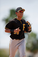 Pittsburgh Pirates shortstop Ji-Hwan Bae (56) jogs back to the dugout during a Florida Instructional League game against the Baltimore Orioles on September 22, 2018 at Ed Smith Stadium in Sarasota, Florida.  (Mike Janes/Four Seam Images)