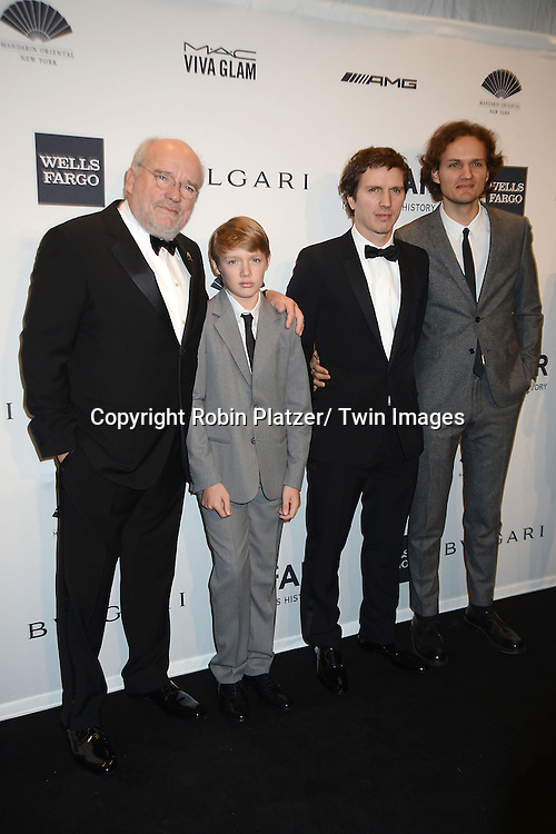 Peter Lindburgh and family  attends the amfAR New York Gala on February 5, 2014 at Cipriani Wall Street in New York City.