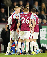 Burnley's Ben Mee intervenes as Crystal Palace's Cheikhou Kouyate exchanges words with Phillip Bardsley following a second half altercation <br /> <br /> Photographer Rich Linley/CameraSport<br /> <br /> The Premier League - Burnley v Crystal Palace - Saturday 30th November 2019 - Turf Moor - Burnley<br /> <br /> World Copyright © 2019 CameraSport. All rights reserved. 43 Linden Ave. Countesthorpe. Leicester. England. LE8 5PG - Tel: +44 (0) 116 277 4147 - admin@camerasport.com - www.camerasport.com