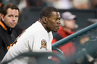 09 April 2008: Giant's #14 Fred Lewis is seen in the dugout during the San Francisco Giants 2-1 victory over the San Diego Padres at the AT&T Park in San Francisco, CA.