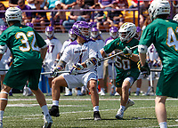 Tehoka Nanticoke (#1) lines up a shot as UAlbany Lacrosse defeats Vermont 14-4  in the American East Conference Championship game at Casey Stadium, May 5.