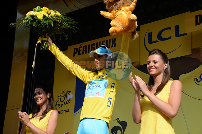 Race leader Vincenzo Nibali (ITA) Astana on the podium at the end of Stage 20 Individual Time Trial of the 2014 Tour de France running 54km from Bergerac to Perigueux. 25th July 2014.<br /> Photo ASO/X.Bourgois/www.newsfile.ie