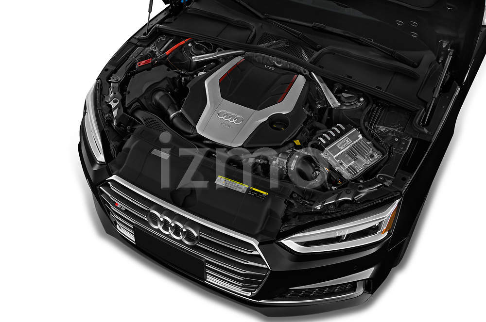 Car stock 2018 Audi S5 Premium Plus 2 Door Coupe engine high angle detail view