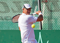 Netherlands, Amstelveen, August 23, 2015, Tennis,  National Veteran Championships, NVK, TV de Kegel,  Men's single final 50+ years: Remko Jansen<br /> Photo: Tennisimages/Henk Koster