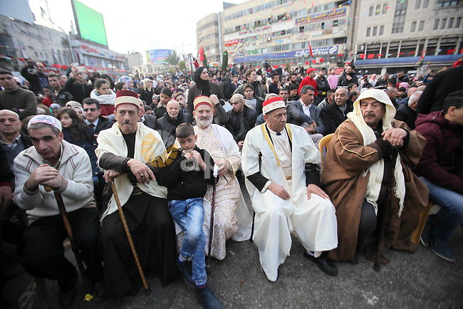 "Palestinians Muslim Sufis attend a ceremony commemorating the birth of Prophet Mohammed, known in Arabic as ""Mawlid al-Nabawi"", in the West Bank city of Nablus on December 11, 2016. Photo by Nedal Eshtayah"