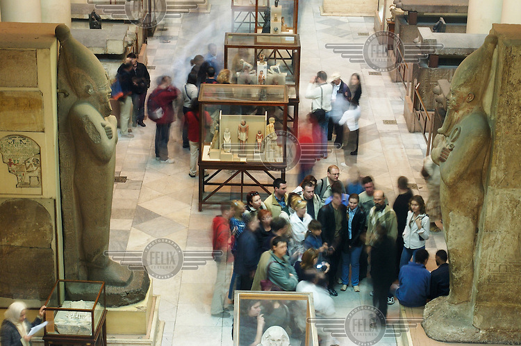 Tourists in the Egyptian Musuem.