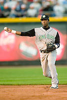 Kane County shortstop Alex Valdez (7) makes a throw to first base versus Dayton at Fifth Third Field in Dayton, OH, Monday, May 7, 2007.