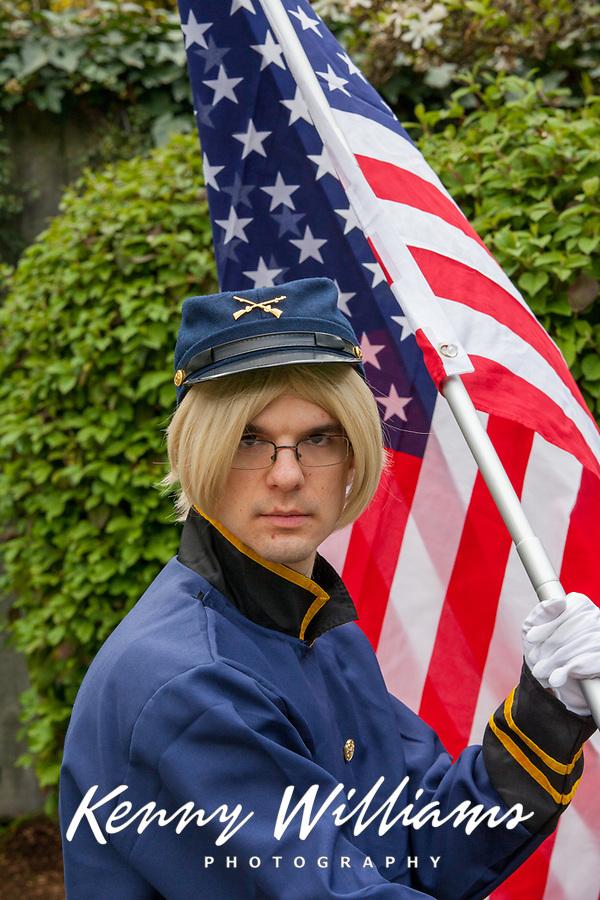 Union Soldier with US Flag, Sakura Con 2016, Seattle, Washington, USA.