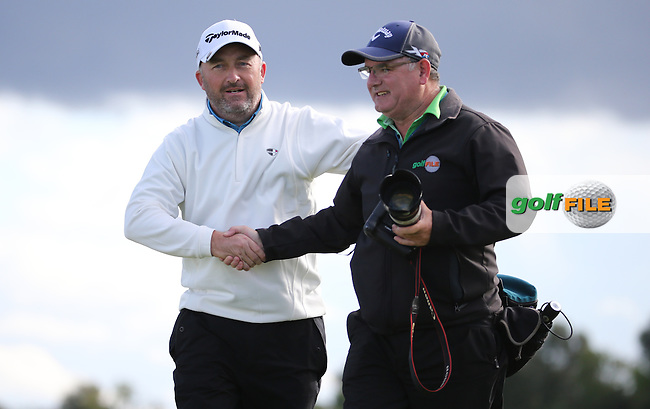 Shaking the hand of Golffile Photographer Thos Caffrey, Damien McGrane (IRL) wins the final round of  The 106th Irish PGA Championship, at the Moy Valley Hotel & Golf Resort, Kildare, Ireland.  25/09/2016. Picture: David Lloyd | Golffile.