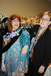 Designer Jane Elissa with one of her shawls poses with author Christina Skye at Romantic Times Booklovers Annual Convention 2011 - The Book Industry Event of the Year - April 6th to April 10th at the Westin Bonaventure, Los Angeles, California for readers, authors, booksellers, publishers, editors, agents and tomorrow's novelists - the aspiring writers. (Photo by Sue Coflin/Max Photos)