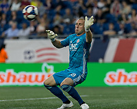 FOXBOROUGH, MA - JUNE 27: Brad Knighton #18 shot on net, off the post during a game between Philadelphia Union and New England Revolution at Gillette Stadium on June 27, 2019 in Foxborough, Massachusetts.