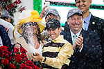 LOUISVILLE, KENTUCKY - MAY 04: Flavien Prat sprays champagne after winning the Kentucky Derby at Churchill Downs in Louisville, Kentucky on May 04, 2019. Evers/Eclipse Sportswire/CSM
