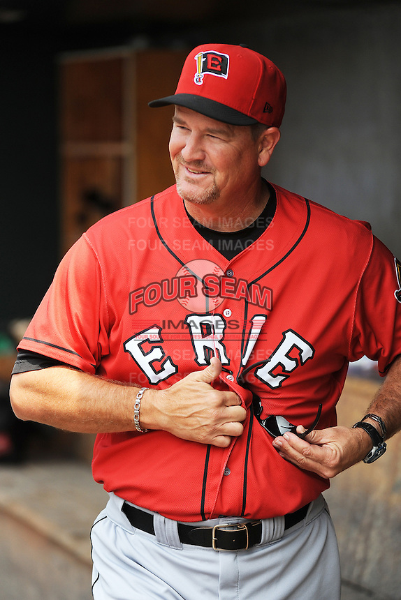 Erie SeaWolves manager Chris Cron (44) during game against the Trenton Thunder at ARM & HAMMER Park on May 29 2013 in Trenton, NJ.  Trenton defeated Erie 3-1.  Tomasso DeRosa/Four Seam Images