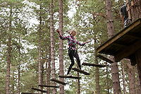 High wire jinks at Go Ape, Sherwood Forest, Nottinghamshire