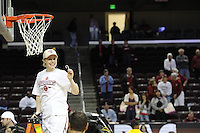 March 14, 2010.  Lindy La Rocque cuts down the net after the Stanford Cardinal beat the UCLA Bruins to win the 2010 Pac-10 Tournament.