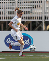 Western New York Flash forward Adriana Martin (8) dribbles down the wing. In a National Women's Soccer League Elite (NWSL) match, the Boston Breakers (blue) tied Western New York Flash (white), 2-2, at Dilboy Stadium on June 5, 2013.