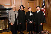From left to right:  Associate Justice Sandra Day O'Connor, (Retired), Associate Justice Sonia Sotomayor, Associate Justice Ruth Bader Ginsburg and Associate Justice Elena Kagan in the Justice's Conference Room prior to Justice Kagan's Investiture at the U.S. Supreme Court in Washington, D.C. on Friday, October 1, 2010..Credit: Steve Petteway - USSC via CNP