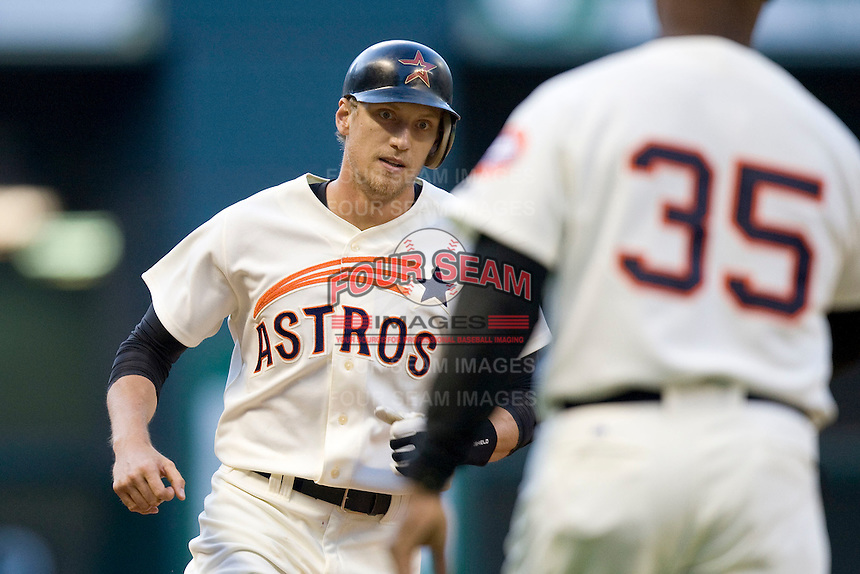 Houston Astros OF Hunter Pence against the Philadelphia Phillies on Turn Back the Clock Nite. Game played on Saturday April 10th, 2010 at Minute Maid Park in Houston, Texas.  (Photo by Andrew Woolley / Four Seam Images)