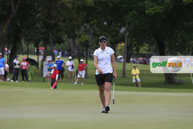 Carlota Ciganda (ESP) on the 15th green during Round 3 of the HSBC Women's Champions at the Sentosa Golf Club, The Serapong Course in Singapore on Saturday 7th March 2015.<br /> Picture:  Thos Caffrey / www.golffile.ie
