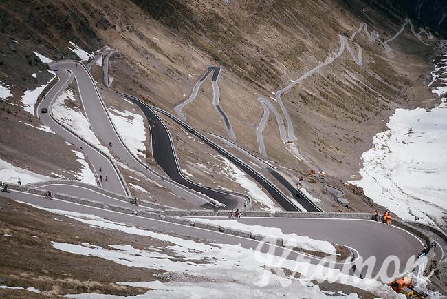 this years Cima Coppi: the famous Passo dello Stelvio (alt: 2758m)<br /> <br /> Stage 16: Rovett &rsaquo; Bormio (222km)<br /> 100th Giro d'Italia 2017